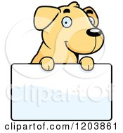 Cartoon Of A Cute Yellow Labrador Puppy Over A Sign Royalty Free Vector Clipart