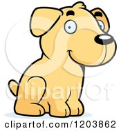 Cartoon Of A Cute Yellow Labrador Puppy Sitting Royalty Free Vector Clipart by Cory Thoman
