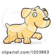 Cartoon Of A Cute Yellow Labrador Puppy Walking Royalty Free Vector Clipart