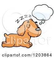Cartoon Of A Cute Spaniel Puppy Dreaming Royalty Free Vector Clipart by Cory Thoman
