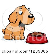 Cartoon Of A Cute Spaniel Puppy By A Bowl Of Dog Food Royalty Free Vector Clipart by Cory Thoman