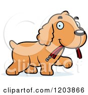 Cartoon Of A Cute Spaniel Puppy Carrying A Leash Royalty Free Vector Clipart by Cory Thoman