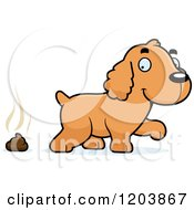 Cartoon Of A Cute Spaniel Puppy And Pile Of Poop Royalty Free Vector Clipart by Cory Thoman