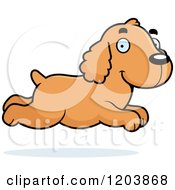 Cartoon Of A Cute Spaniel Puppy Running Royalty Free Vector Clipart by Cory Thoman