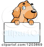 Cartoon Of A Cute Spaniel Puppy Over A Sign Royalty Free Vector Clipart by Cory Thoman