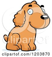 Cartoon Of A Cute Spaniel Puppy Sitting Royalty Free Vector Clipart