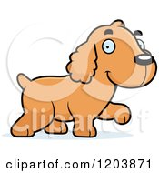 Cartoon Of A Cute Spaniel Puppy Walking Royalty Free Vector Clipart by Cory Thoman