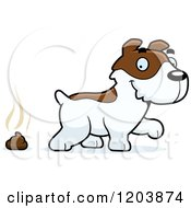 Cartoon Of A Cute Jack Russell Terrier Puppy With A Pile Of Poop Royalty Free Vector Clipart