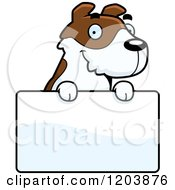 Cartoon Of A Cute Jack Russell Terrier Puppy Over A Sign Royalty Free Vector Clipart