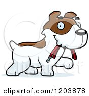 Cartoon Of A Cute Jack Russell Terrier Puppy Sitting Royalty Free Vector Clipart