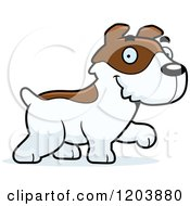 Cartoon Of A Cute Jack Russell Terrier Puppy Walking Royalty Free Vector Clipart