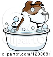 Cartoon Of A Cute Jack Russell Terrier Puppy Taking A Bath Royalty Free Vector Clipart