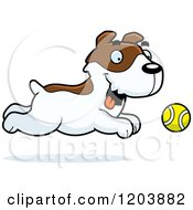 Cartoon Of A Cute Jack Russell Terrier Puppy Chasing A Tennis Ball Royalty Free Vector Clipart