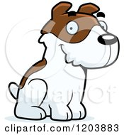 Cartoon Of A Cute Jack Russell Terrier Puppy Sitting Royalty Free Vector Clipart by Cory Thoman