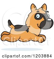 Cartoon Of A Cute German Shepherd Puppy Running Royalty Free Vector Clipart by Cory Thoman