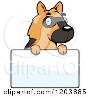 Cartoon Of A Cute German Shepherd Puppy Over A Sign Royalty Free Vector Clipart by Cory Thoman