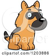 Cartoon Of A Cute German Shepherd Puppy Sitting Royalty Free Vector Clipart