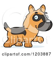 Cartoon Of A Cute German Shepherd Puppy Walking Royalty Free Vector Clipart by Cory Thoman