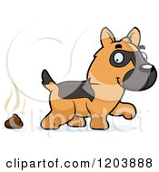 Cartoon Of A Cute German Shepherd Puppy And A Pile Of Poop Royalty Free Vector Clipart