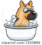 Cartoon Of A Cute German Shepherd Puppy Taking A Bath Royalty Free Vector Clipart