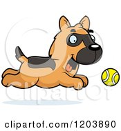 Cartoon Of A Cute German Shepherd Puppy Chasing A Ball Royalty Free Vector Clipart by Cory Thoman