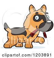 Cartoon Of A Cute German Shepherd Puppy Carrying A Leash Royalty Free Vector Clipart by Cory Thoman