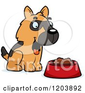 Cartoon Of A Cute German Shepherd Puppy With Dog Food Royalty Free Vector Clipart by Cory Thoman