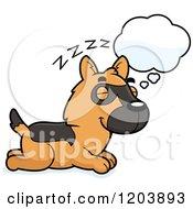 Cartoon Of A Cute German Shepherd Puppy Dreaming Royalty Free Vector Clipart by Cory Thoman