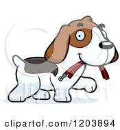 Cartoon Of A Cute Beagle Puppy Carrying A Leash In His Mouth Royalty Free Vector Clipart by Cory Thoman