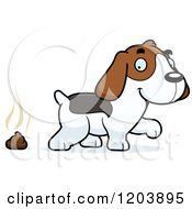 Cartoon Of A Cute Beagle Puppy And Fresh Poop Royalty Free Vector Clipart