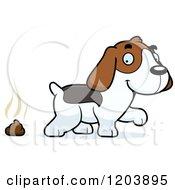 Cute Beagle Puppy And Fresh Poop