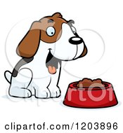 Cartoon Of A Cute Beagle Puppy With Dog Food Royalty Free Vector Clipart by Cory Thoman