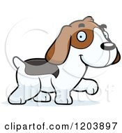 Cartoon Of A Cute Beagle Puppy Walking Royalty Free Vector Clipart by Cory Thoman