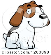 Cartoon Of A Cute Beagle Puppy Sitting Royalty Free Vector Clipart