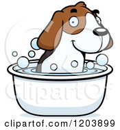 Cartoon Of A Cute Beagle Puppy Taking A Bath Royalty Free Vector Clipart by Cory Thoman