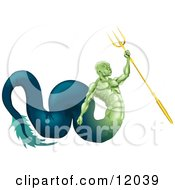 Poster, Art Print Of Poseidon Merman God Of The Sea Part Fish And Part Man Holding A Trident