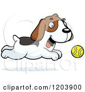 Cartoon Of A Cute Beagle Puppy Chasing A Tenni Ball Royalty Free Vector Clipart by Cory Thoman