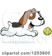 Cartoon Of A Cute Beagle Puppy Chasing A Tenni Ball Royalty Free Vector Clipart