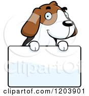 Cartoon Of A Cute Beagle Puppy Over A Sign Royalty Free Vector Clipart by Cory Thoman