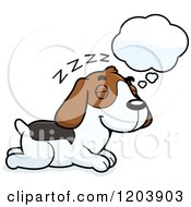 Cartoon Of A Cute Beagle Puppy Dreaming Royalty Free Vector Clipart by Cory Thoman