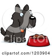 Cartoon Of A Cute Scottish Terrier Puppy By Dog Food Royalty Free Vector Clipart