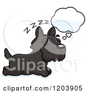 Cartoon Of A Cute Scottish Terrier Puppy Dreaming Royalty Free Vector Clipart