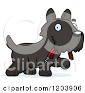 Cartoon Of A Cute Scottish Terrier Puppy Carrying A Leash Royalty Free Vector Clipart by Cory Thoman