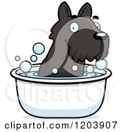 Cartoon Of A Cute Scottish Terrier Puppy Taking A Bath Royalty Free Vector Clipart
