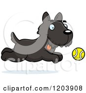 Cartoon Of A Cute Scottish Terrier Puppy Chasing A Tennis Ball Royalty Free Vector Clipart