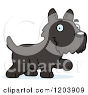 Cartoon Of A Cute Scottish Terrier Puppy Walking Royalty Free Vector Clipart