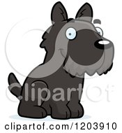 Cartoon Of A Cute Scottish Terrier Puppy Sitting Royalty Free Vector Clipart
