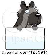Cartoon Of A Cute Scottish Terrier Puppy Over A Sign Royalty Free Vector Clipart