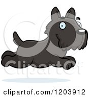 Cartoon Of A Cute Scottish Terrier Puppy Running Royalty Free Vector Clipart