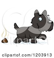 Cartoon Of A Cute Scottish Terrier Puppy And A Pile Of Dog Poop Royalty Free Vector Clipart
